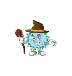 Sweet and tricky witch coronavirus illness cartoon vector