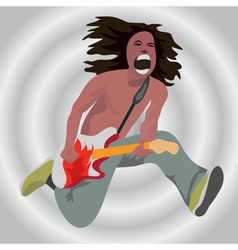 The guitarist in a jump vector