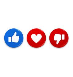 Thumb up down and heart icon like dislike vector