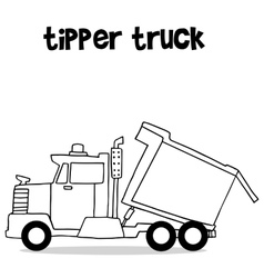 Tipper truck with hand draw vector