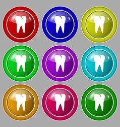 tooth icon Symbol on nine round colourful buttons vector image