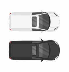 top view two minivan cars vector image