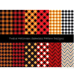 twelve halloween seamless pattern designs set vector image