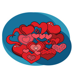 valentine day hearts design set vector image vector image