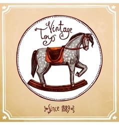 Vintage rocking horse vector