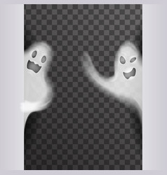white scary ghost look out corner halloween night vector image