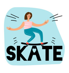 women skateboarding icon vector image