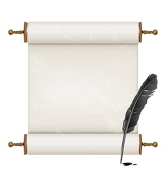black feather and ancient scroll vector image