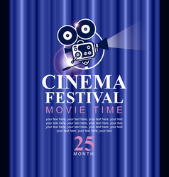 cinema festival poster with old fashioned camera vector image vector image