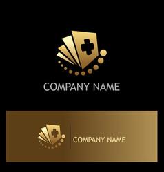 document hospital gold logo vector image vector image