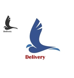 Fast delivery symbol with flying bird vector image vector image