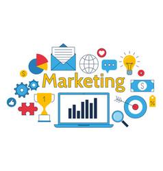 marketing symbols digital media line business vector image