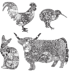 animals in ethnic ornaments vector image