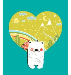 Cartoon Baby Bear with Nature Heart Background and vector image vector image