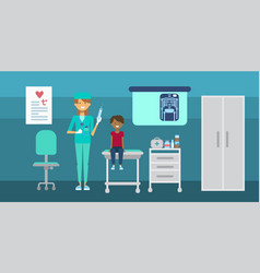 doctor examining patient medical consultation vector image