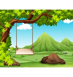 Nature scene with swing on the tree vector image vector image