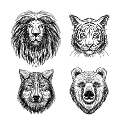 Set of hand drawn animal sketch vector