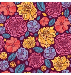 Summer flowers seamless pattern background vector image