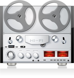 Vintage open reel analog stereo tape deck player vector image