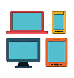 white background with colorful set devices vector image
