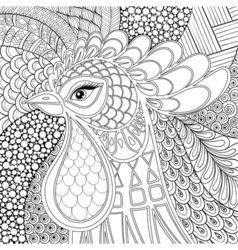 Zentangle Rooster Symbol 2017 New Year Hand drawn vector image vector image