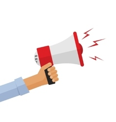 Casual hand holding bullhorn vector image
