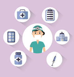 female doctor surgeon mask cap bottle pharmacy vector image