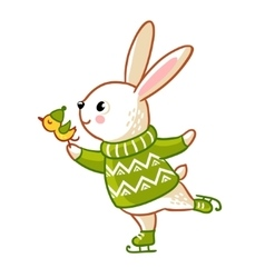 Hare in sweater skates vector image vector image