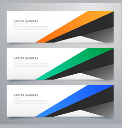 modern geometric banners set of three vector image