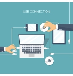 Usb connection Computer vector image vector image