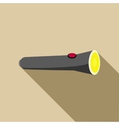 Black flashlight icon in flat style vector image