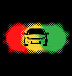 Car silhouette and traffic light spots vector