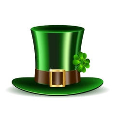 Green St Patricks Day hat with clover vector image vector image