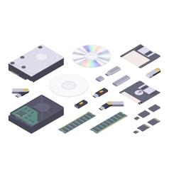 Isometric flat digital memory storages set vector