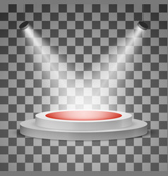 round podium with a red carpet and a spotlight vector image