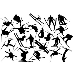 skiing silhouettes vector image vector image