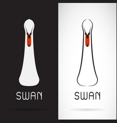 swan head design on black background and white vector image