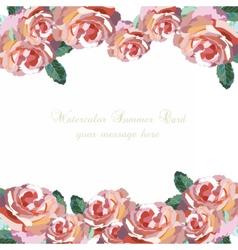 Watercolor Pink Rose flowers card vector image