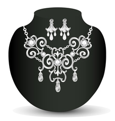 wedding necklace and earrings with white precious vector image