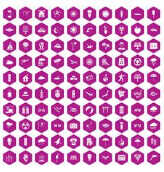 100 sun icons hexagon violet vector