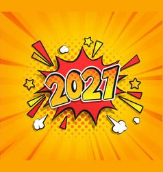 2021 new year comic boom speech bubble vector image