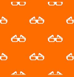 3d glasses pattern orange vector image