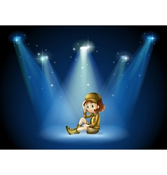 A stage with young actress vector