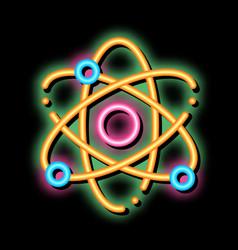 Atom nucleus and electron neon glow icon vector
