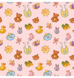Baby toys cartoon set seamless pattern vector image