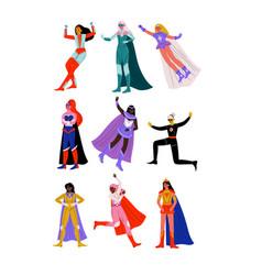 Beautiful young women in bright superhero costumes vector