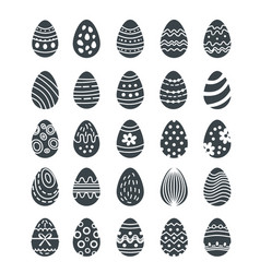 big easter egg silhouette set of logoshouettes vector image