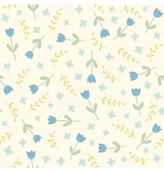 blue flowers and plants seamless pattern vector image