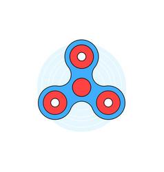 blue linear hand fidget spinner on white vector image