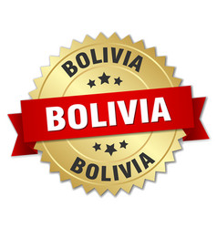 Bolivia round golden badge with red ribbon vector